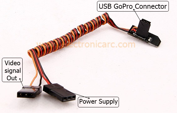 <b> GoPro 3 </b> Cable Video+Corriente, Conector 90º ultra plano