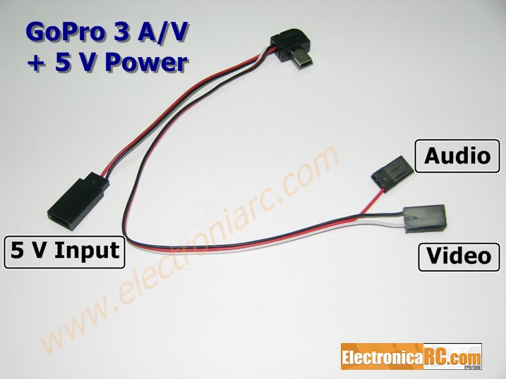 <b> GoPro 3+ </b> Cable Audio & Video + 5V entrada corriente