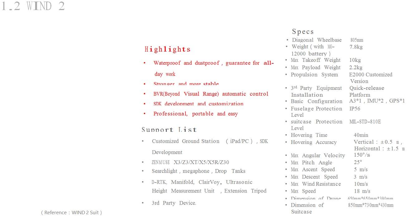 DJI WIND 2, Industrial Drone WaterProof  In Stock Wind 2