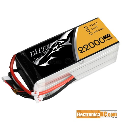 GensAce - Tattu 22000mAh 22.2V 25/50C 6S1P Lipo Battery Pack