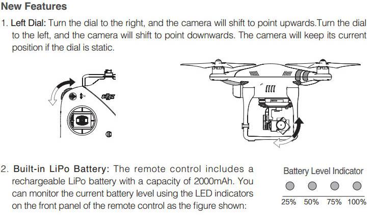 DJI New 2 4GHz Remote Control (left dial, built-in Lipo battery) Tx PH 2 V 2